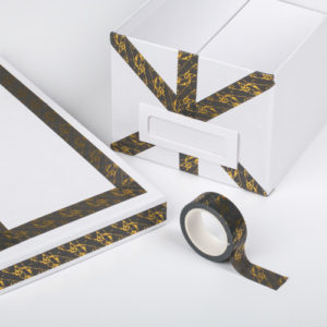 15mm x 10m ANTHRACITE & GOLD MARBLE washi tape for crafts & home décor (CYW0409)