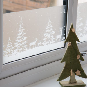 20cm x 1.5m dc fix WINTER / XMAS BORDER FOREST static cling vinyl window film (321-4001-W1)