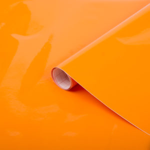 45cm x 1m up to 15m dc fix GLOSSY JAFFA ORANGE sticky back plastic vinyl wrap film (200-2878)