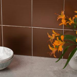 15cm x 15cm BRUSHED BRONZE tile stickers for décor (CYWX309)