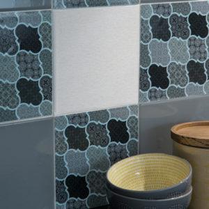 15cm x 15cm GEO MOTIF GREY tile stickers for décor (CYW15T506)