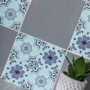 15cm x 15cm GLOSSY ALFI AQUA & GREY tile stickers for décor (CYW15F503)