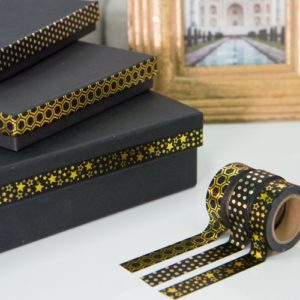 15mm x 10m STARS BLACK & GOLD washi tape for crafts & home d?cor (CYW0179)