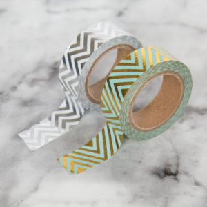 15mm x 10m CHEVRONS SILVER washi tape for crafts & home decor (CYW0230)