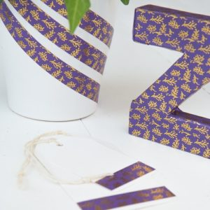 15mm x 10m SPRIGS PURPLE & GOLD washi tape for crafts & home decor (CYW0208)