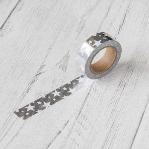 15mm x 10m STARS SILVER washi tape for crafts & home decor (CYW0234)