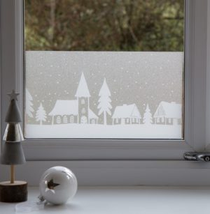 20cm x 1.5m dc fix WINTER / XMAS BORDER HOMES static cling vinyl window film (321-4001-W2)
