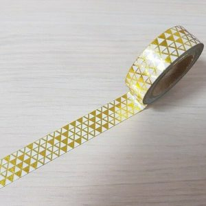 15mm x 10m GEO TRIANGLES GOLD washi tape for crafts & home décor (CYW0161)