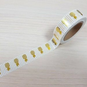 15mm x 10m PINEAPPLES WHITE & GOLD washi tape for crafts & home d?cor (CYW0163)