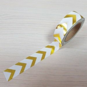 15mm x 10m CHEVRONS WHITE & GOLD washi tape for crafts & home décor (CYW0169)