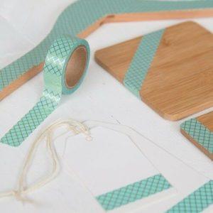 15mm x 10m CROSS AQUA & GOLD washi tape for crafts & home décor (CYW0894)