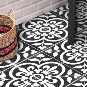30 x 30cm Quadrostyle CORONA BLACK Wall & Floor Vinyl Tile Stickers (CYWT15FM30)