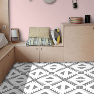 30 x 30cm Quadrostyle ZIG ZAG GREY Wall & Floor Vinyl Tile Stickers(CYWT23FM30)